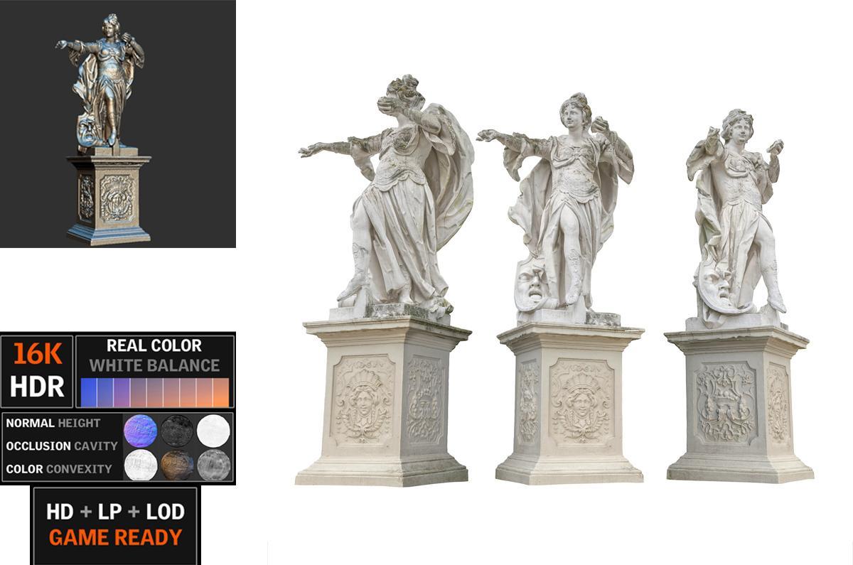 concrete statues scanned 3d model turbosquid