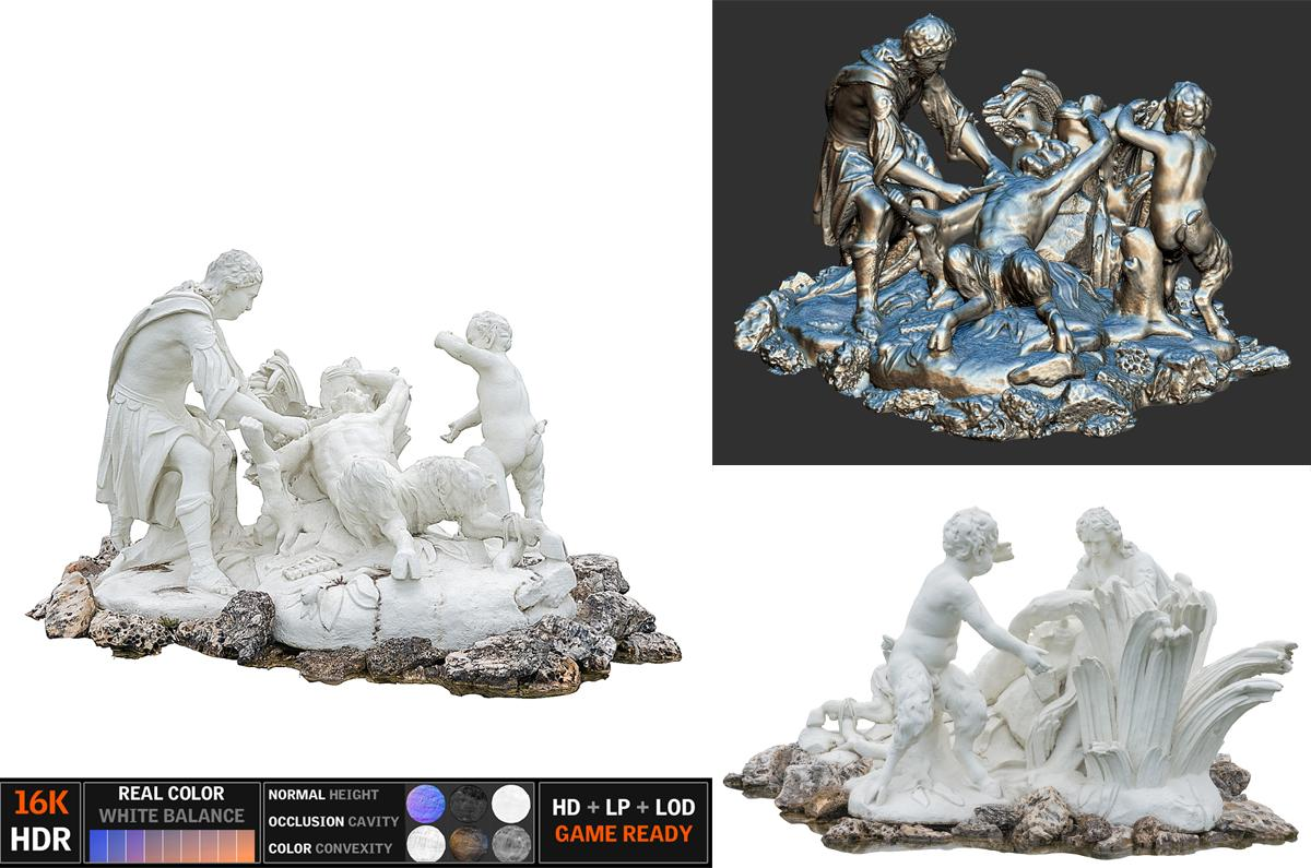 ancient sculpture fountain scanned 3d collection turbosquid