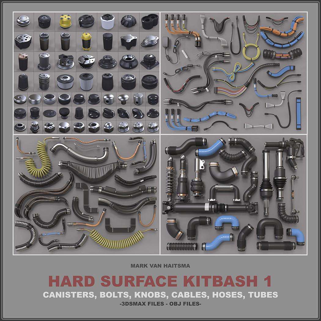 hard surface kitbash 3d collection cubebrush