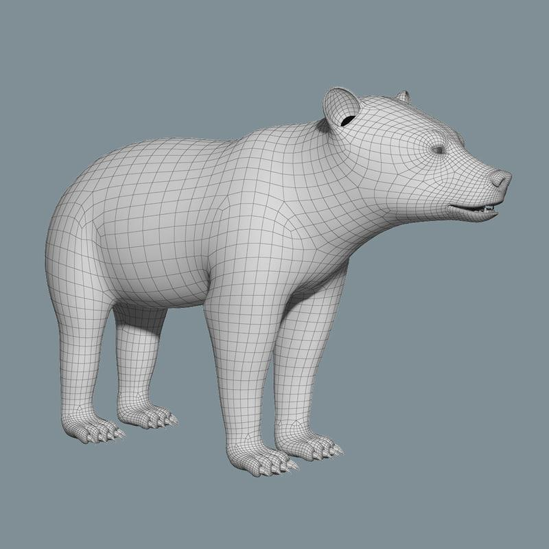 grizzly bear 3dsmax vray 3d model turbosquid