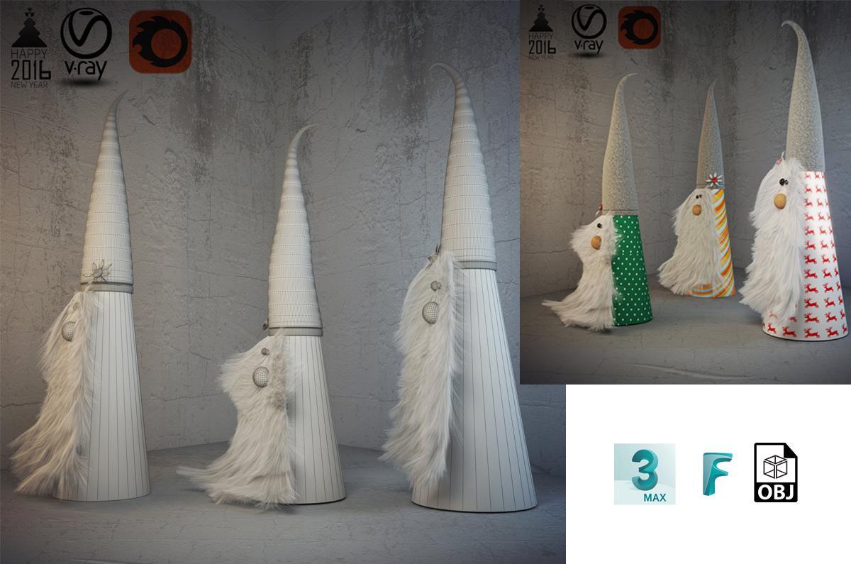 christmas dwarves 3d model