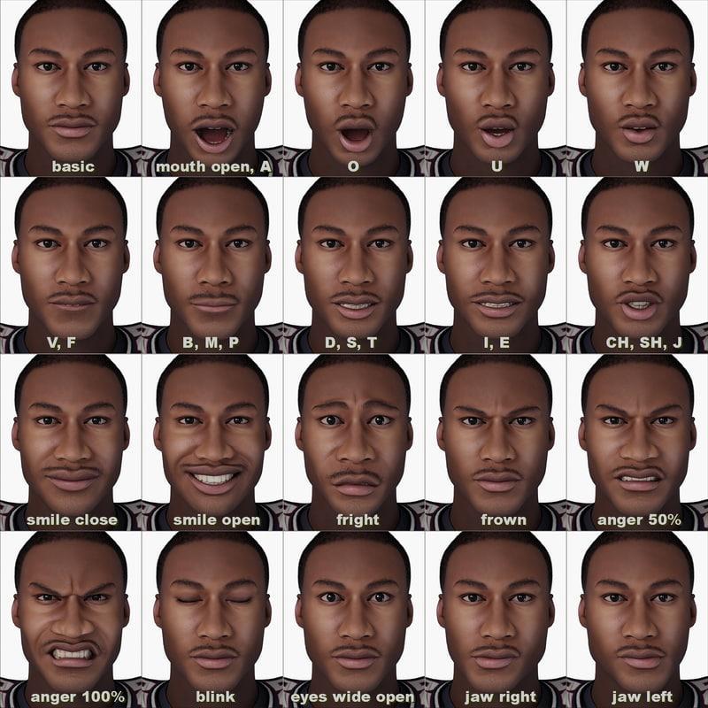 man facial expressions 3d model turbosquid