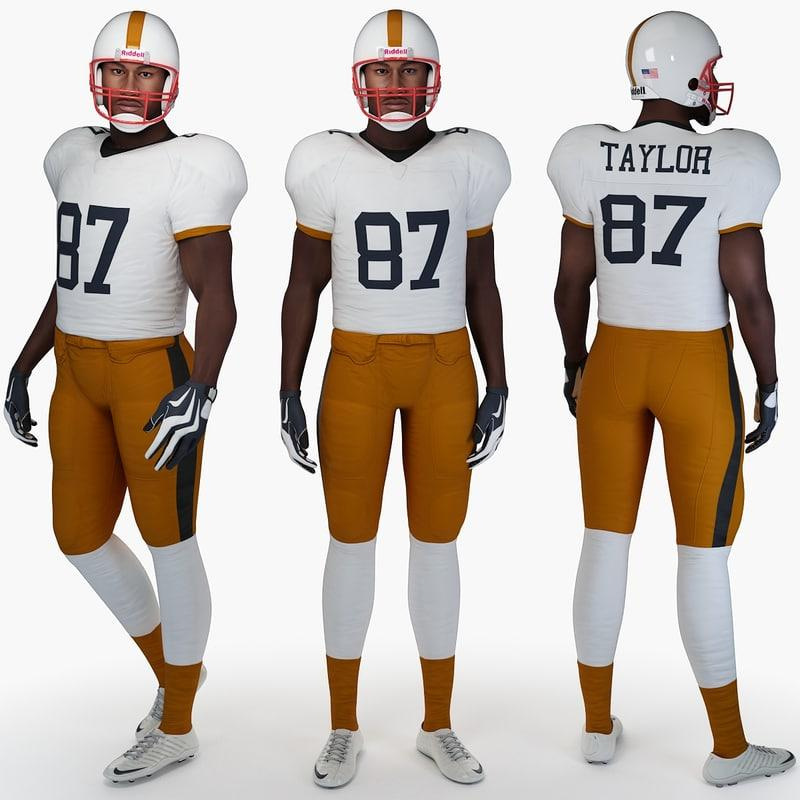 football player standing 3d model turbosquid