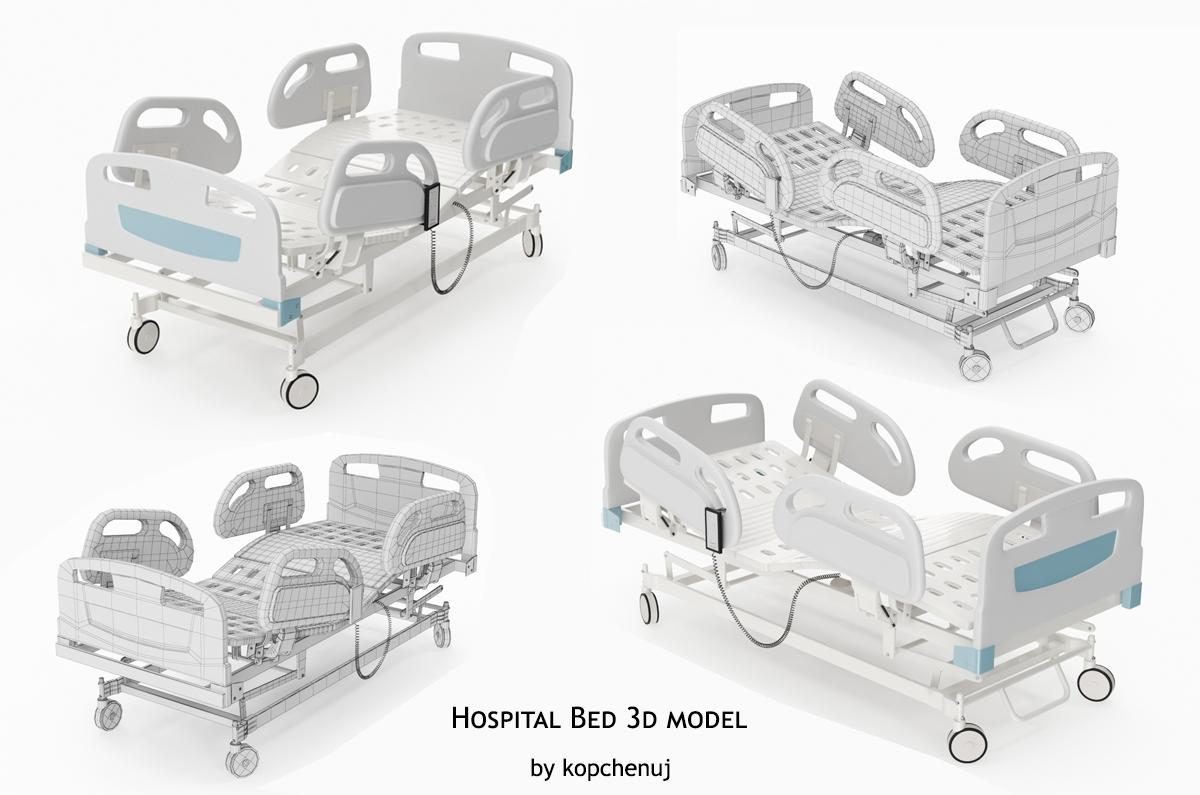 hospital bed 3d model turbosquid