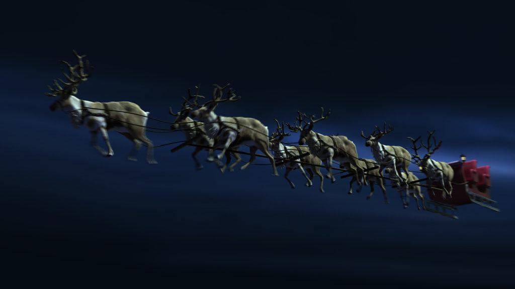 flying reindeers with sleigh 3d model turbosquid
