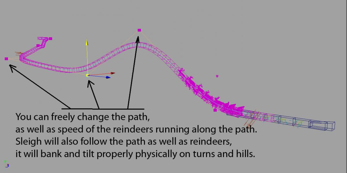 animated path sleigh and reindeers 3d model turbosquid