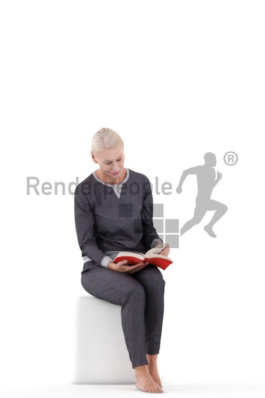 woman sitting 3d model renderpeople