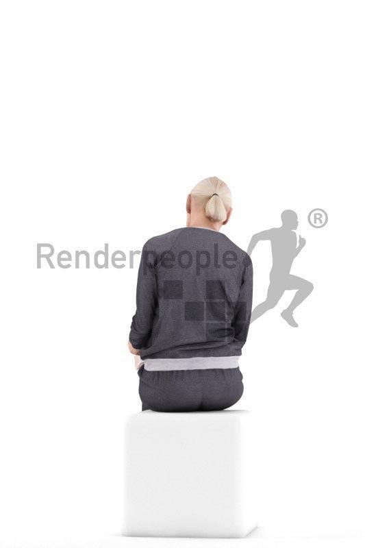 female sititng 3d model renderpeople