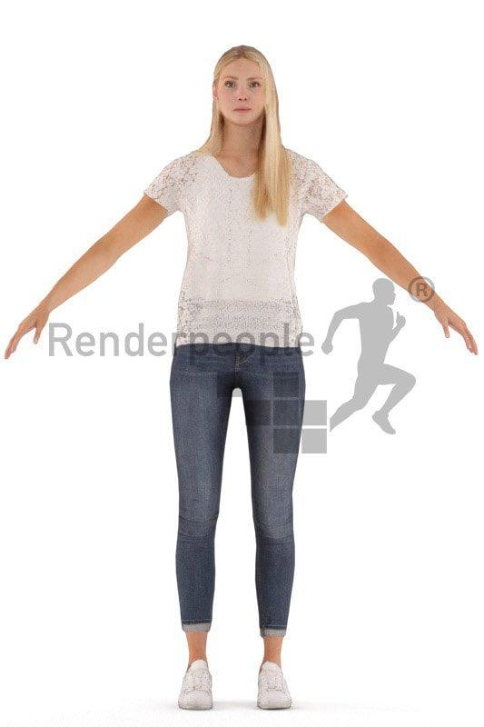 woman rigged casual style 3d model renderpeople