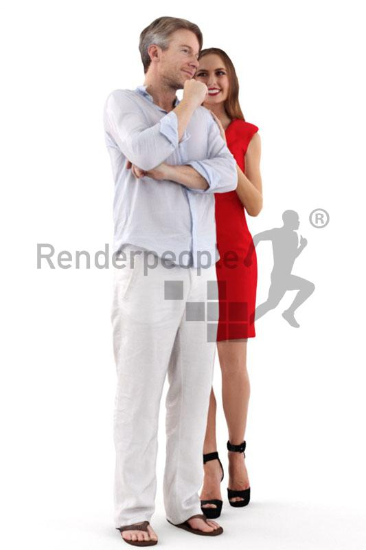male and female posed 3d model renderpeople