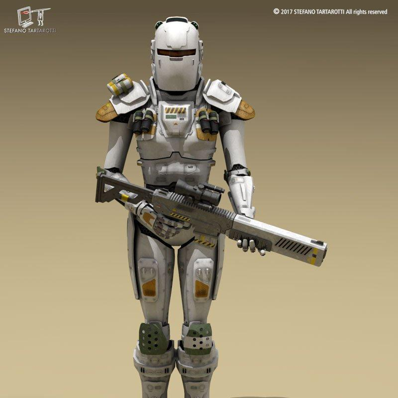 futuristic soldier with a rifle 3d model 3dexport