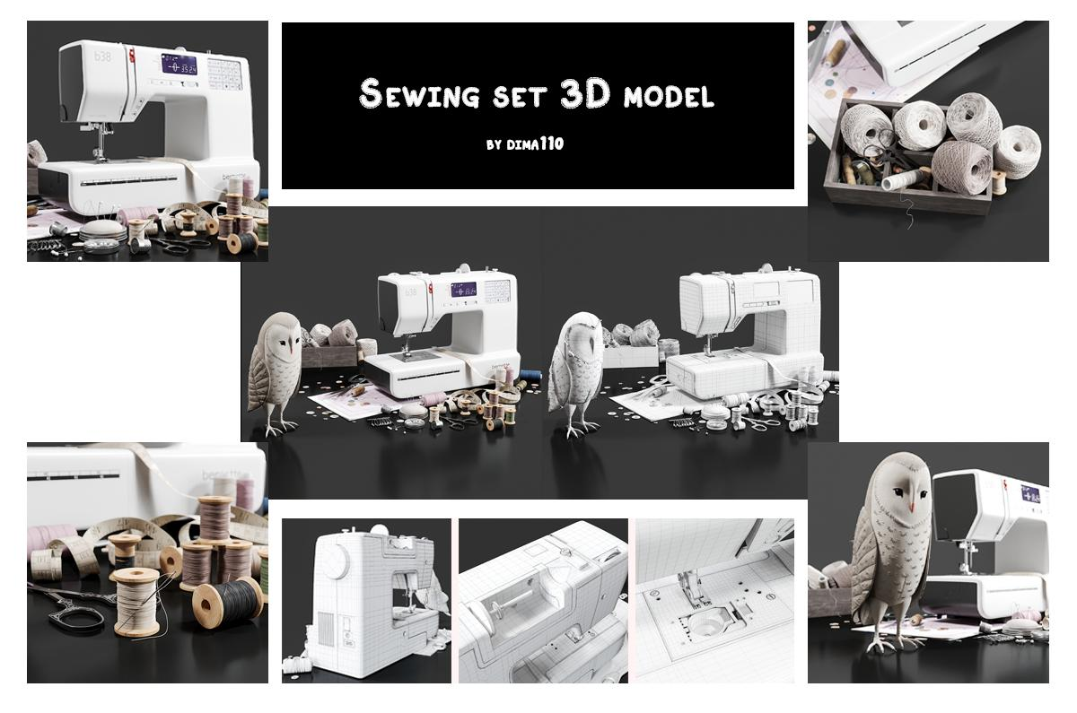 sewing set 3d model turbosquid