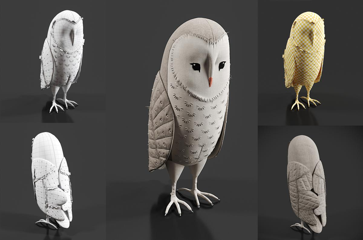 fabric owl 3d model turbosquid