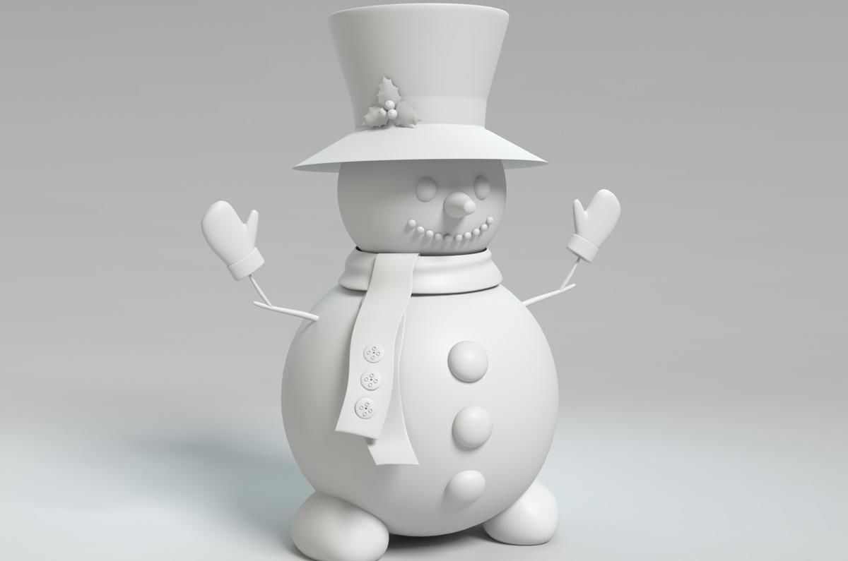 winter snowman wireframe 3d model turbosquid