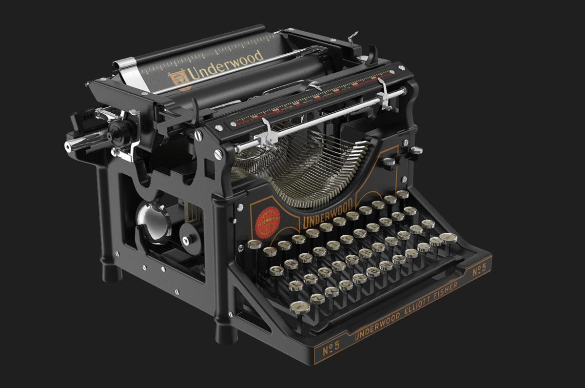 underwood typewriter no5 3d model turbosquid