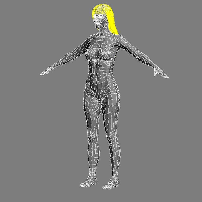 3d female characters models turbosquid