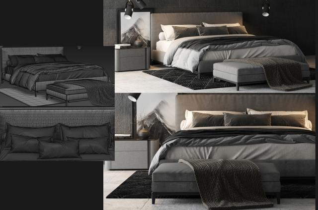 Minotti Andersen Bed 3d model turbosquid