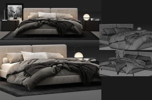 Minotti Tatlin Bed 3d model turbosquid