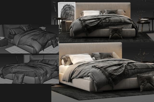 Flexform Magnum Bed 3d model turbosquid