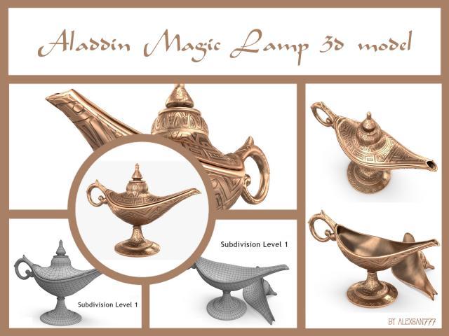 Aladdin magic lamp 3d model turbosquid