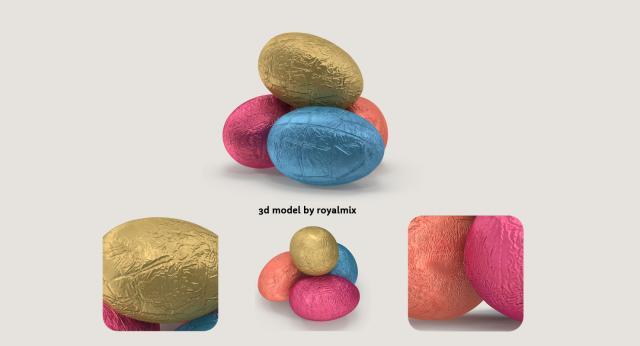 chocolate easter eggs 3d model turbosquid