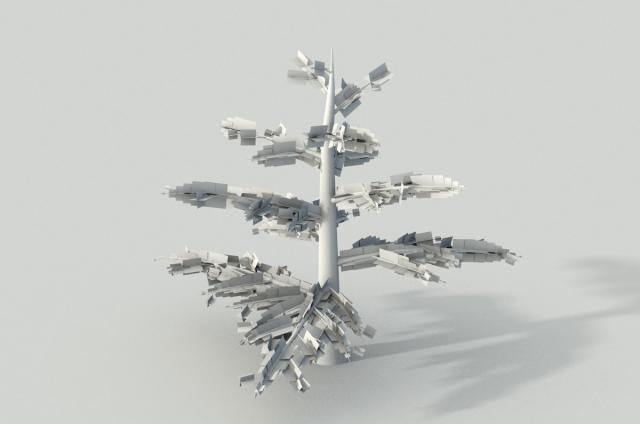 fir tree wireframe 3d model animated