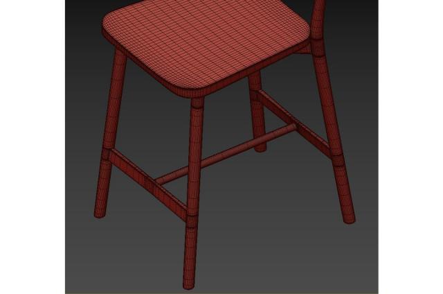 ash wood counter stool 3d model