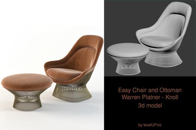 Warren Platner chair and ottoman 3d model turbosquid