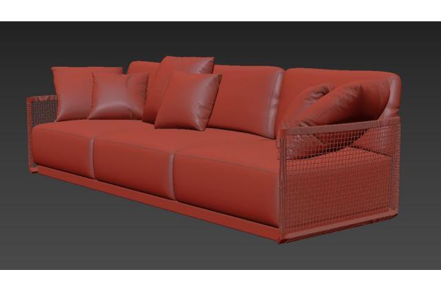 upholstered outdoor seat 3d model tribu