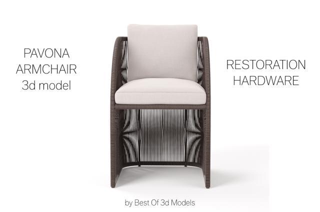 pavona armchair restoration hardware 3d model