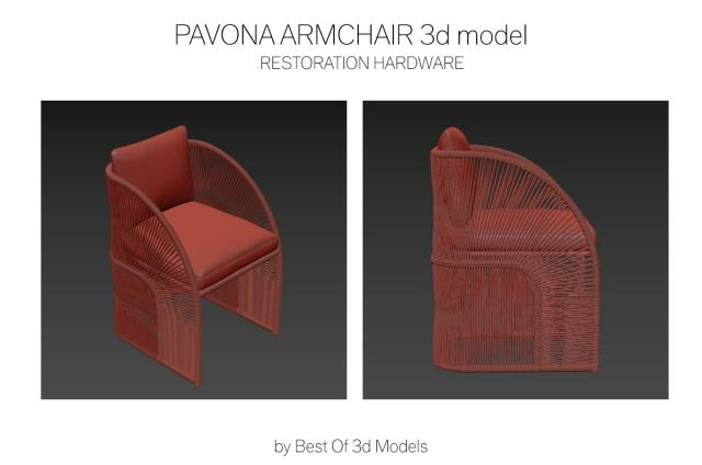 armchair with handwoven frame 3d model restoration hardware