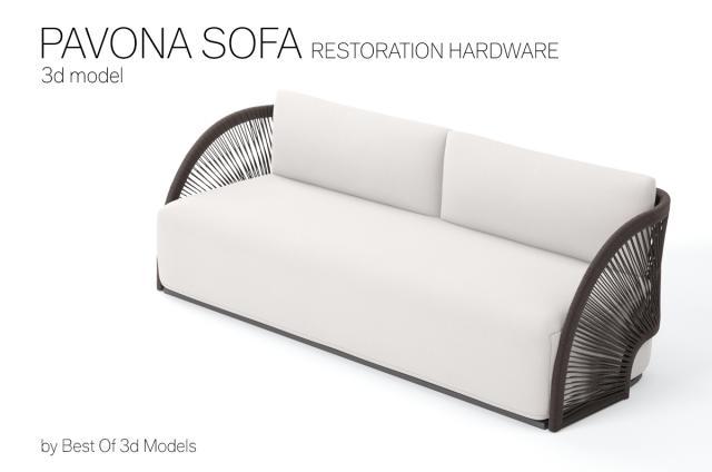 sofa with cord frame 3d model restoration hardware