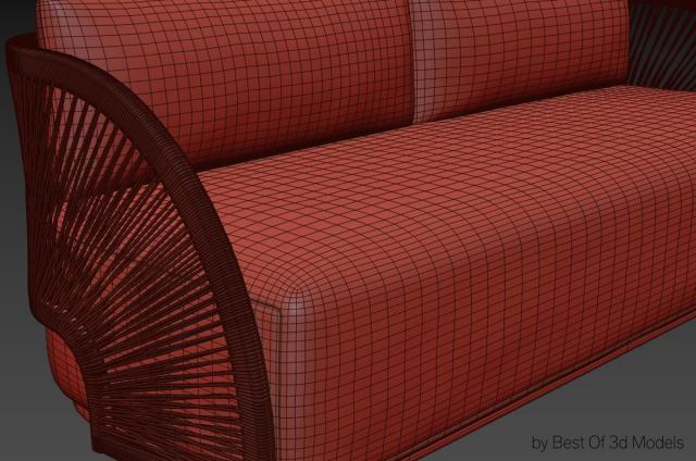 sofa with handwoven frame 3d model restoration hardware
