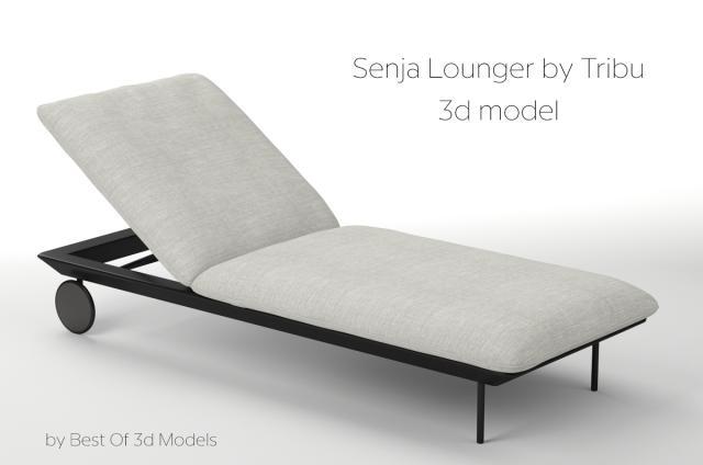aluminium frame lounger by tribu 3d model