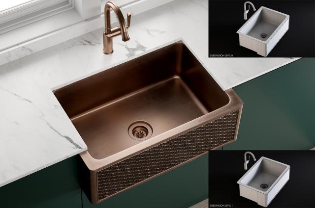 Sink Farmhouse Mixer Pieta 3d model turbosquid