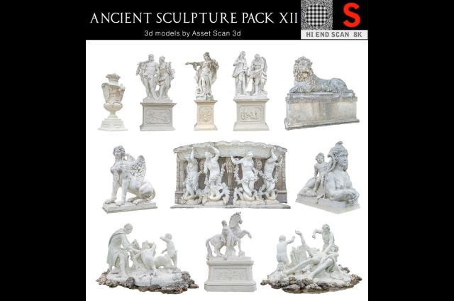 ancient sculpture scanned 3d collection turbosquid