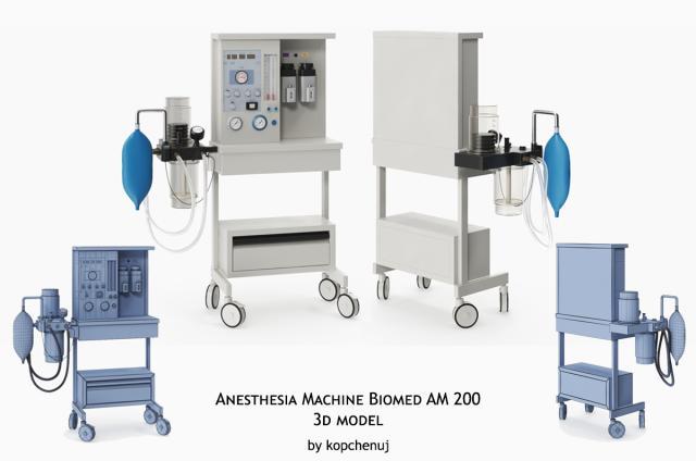 anesthesia machine biomed am 200 3d model turbosquid