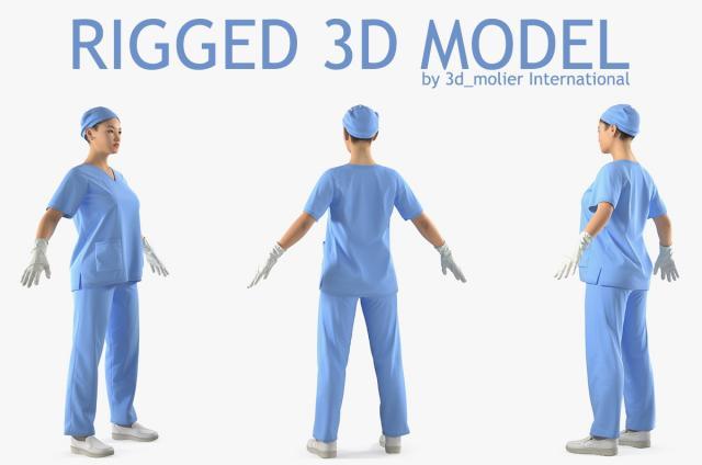 asian female surgeon 3d model rigged turbosquid