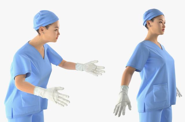female surgeon in Asia 3d model rigged turbosquid