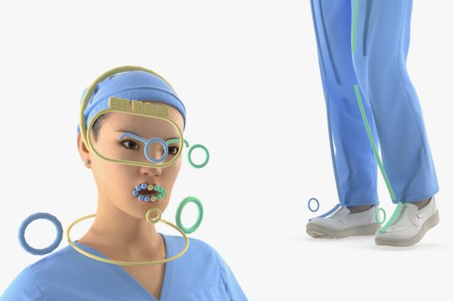 female doctor with blue medical suit rigged 3d model turbosquid
