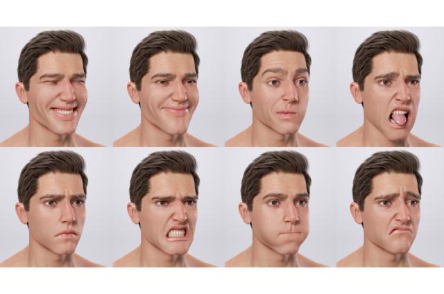 male face expressions 3d model turbosquid
