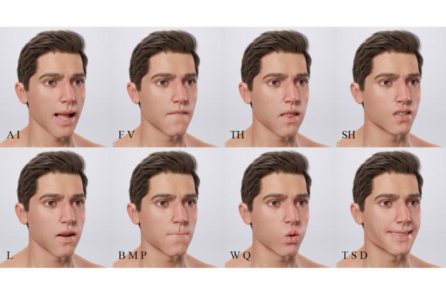 facial animation man 3d model turbosquid
