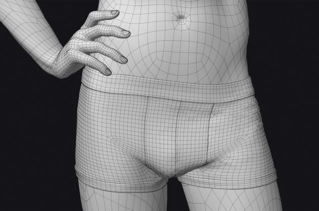man with underwear 3d model turbosquid
