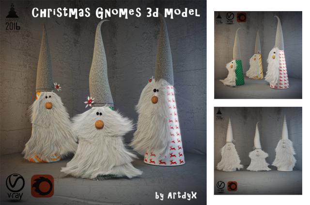 christmas gnomes 3d model