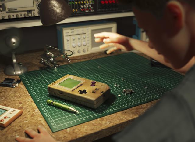 retro gameboy 3d model