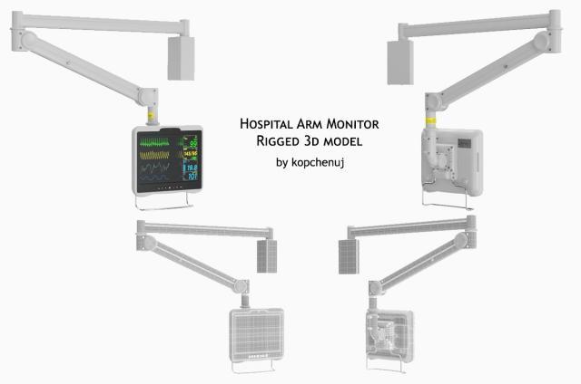 hospital arm monitor rigged 3d model turbosquid