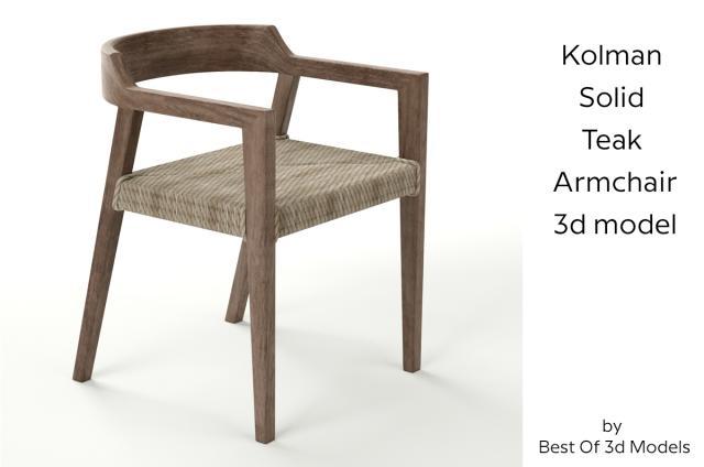 kolman solid teak armchair 3d model