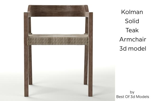 armchair of rustic teak and synthetic wicker 3d model