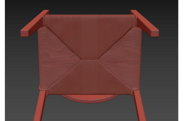 rustic teak and synthetic wicker armchair 3d model