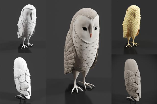 fabric owl 3d model turbosquid